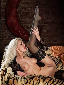 Frizzy Blondie Slavka teasing us with her black stockings
