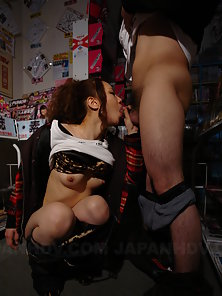 Sweet babe Koyuki gets naked and fucked in a sex shop