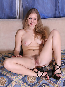 Blonde Jennifer Shows Hairy Cunt before Riding Big Dick on the Couch