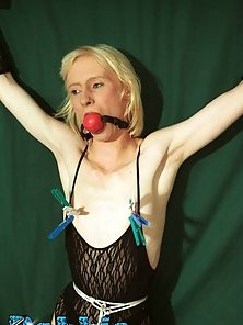 Kinky housewife with small tits tied up and flogged at home
