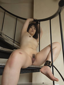 Asian Yukime Matsushita Gets Naked and Tied up on The Stairs