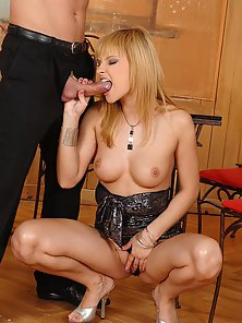 Dazzling Babe Abbie Cat Sucks Cock and Rubs Wet Pussy