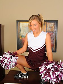 Gorgeous cheerleader Ally Kay receives hot cum on her pretty face