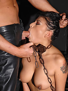 Chained Latina Slave Getting Mouth Fucked by Brutal Penis