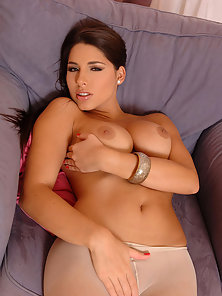 Brunette Babe Zafira in Pantyhose Teasing and Rubbing Wet Pussy