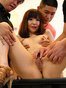 Asian MILF Ayu Kawashima let young guys play with her pussy