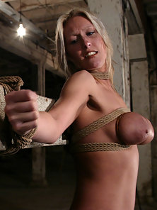 Natalia is shocked by restrictive rope bondage before orgasm