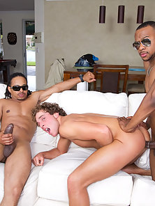 This guy gets fucked by TWO massive cocks!