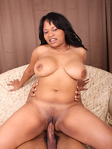 Black Plumper Kandi Kream with Big Tits Spreading Her Thighs for Big Cock