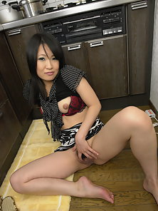 Dazzling Beauty Yoshimi Inamori in Sexy Panties Spreading Her Moist Pussy