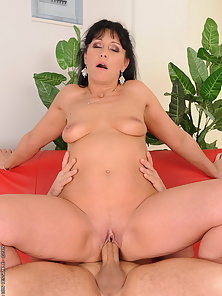 Lusty granny got a juicy hot load on her belly