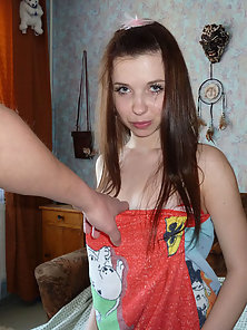Naughty teen babe exposes delights and banged with guy