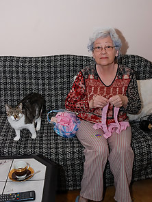 Extremely old grandma and toys