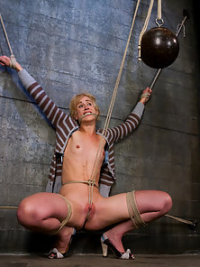Hot blonde tied tight and made to squirt on herself