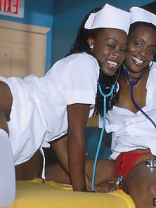 Two naughty nubian nurses getting fucked in a 3way