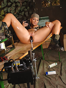 Young Military Blonde Babe Gets Fucked By a Machine First Time