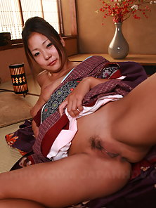 Beautiful Japanese Babe Shows Her Big Boobs and Hairy Twat