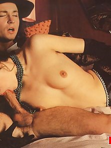 Extremely hairy retro lady fucked in both her fuck holes