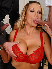 Amazing Beauty Sharon Pink with Big Bosoms Gets Deep Drilled in Threesome Sex