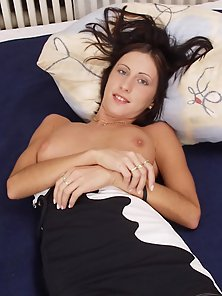 Long legged beauty shows her sweet juicy pussy
