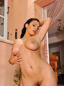 Curly Hair Brunette Aria Giovanni in Sexy Panty Tickling Juicy Pussy