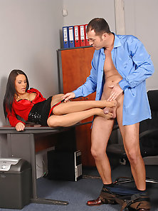 Amazing Sexy Secretary Gives Footjob to Thick Solid Penis