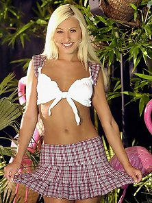 Platinum blonde with small tits showing pink