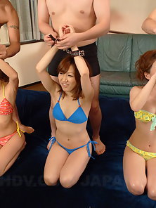 Charming Asian Babes Teasing and Having Breathtaking Orgy Sex