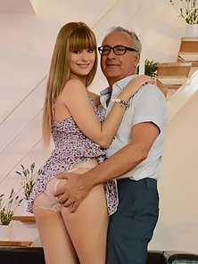 Small and petite Charlize takes on pervert old man Jim Slip