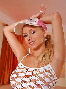 Dashing Blonde Lady Stripping Shorts and Squeezing Boobs