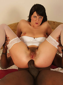 Model Adel in White Lingerie Having Interracial Sex Live on Webcam