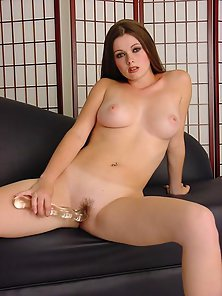 Young Brunette Sasha Shows Her Curves and Fucking With Glass Ribbed Dildo