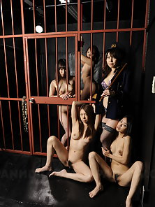 Lusty female prison guard and her sexy bitches