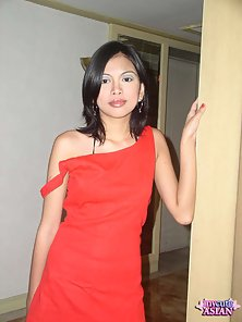 Thin filipino slut in red dress gets her shaved pussy banged hard
