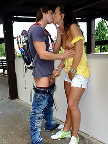 Stoned horny couple is getting very naughty at the station