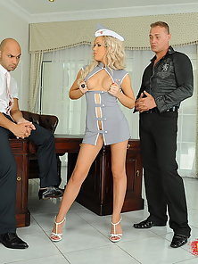 Blonde Nurse got fucked hard in the pussy and ass