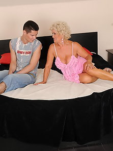 Horny granny gives private lesson for dude
