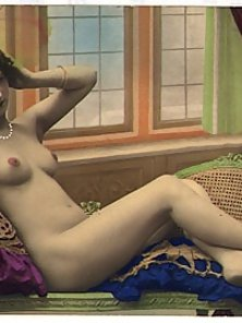 Hot thirties girls in color tints are posing nude vintage