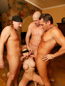 Blindfold Lusty Michelle B on Knees Gets Mouth Stuffed by Several Dicks