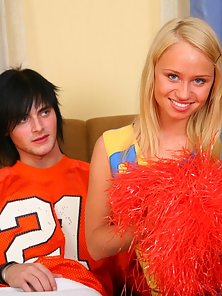 Gorgeous sweet cheerleader Ania is sucking and licking big shlong