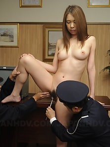 Kinky prison guard use some toys on hot naked Asian babe