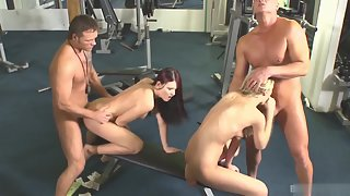 Cindy White and Jasmine Luna banged by gym dicks
