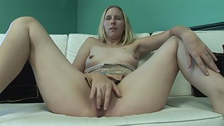 Sex Hungry Blonde Babe Finger Fuck her Shaved Pussy