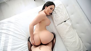 Stockings Wearing Beauty Brooke Beretta with Round Butt Banged from Behind