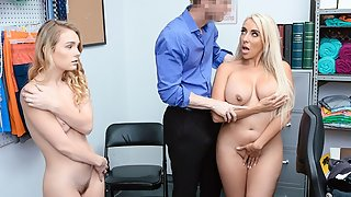 Amazing Blonde Ladies in Pawnshop Rammed by Mall Cop from Behind