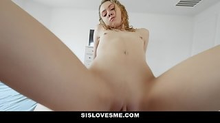 Delicious blonde sucks stepbro's dick and rides it