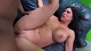 Horny busty and curvy babe rammed deep by a huge black dick