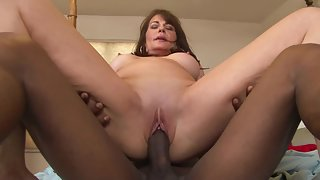 Brunette Milf Give Foot job To Young Black Dude Big Dick