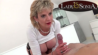 Passionate Blonde MILF with Stimulation Blows and Fondles Fleshy Penis