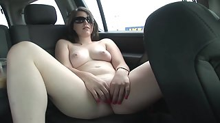 Shining Sexy Beauty in Car Shows Boobs and Caresses Shaved Twat